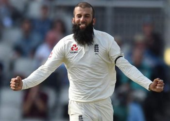 Moeen Ali celebrates after dismissing an Indian batsman, Sunday