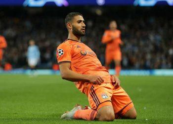 Nabil Fekir celebrates afyer scoring Lyon's second goal against Manchester City