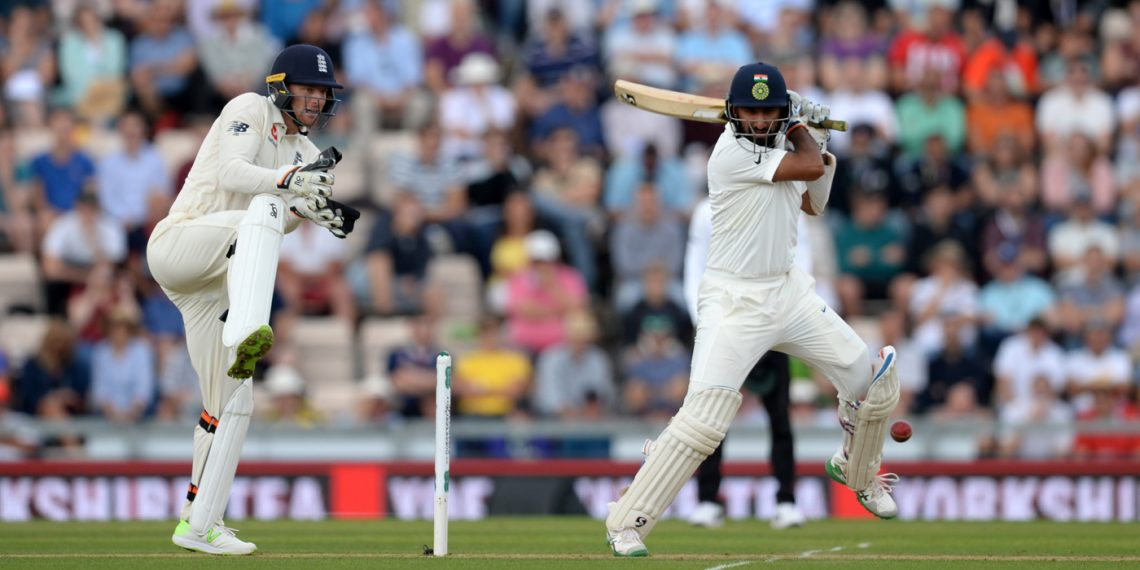 Cheteshwar Pujara plays a shot against England