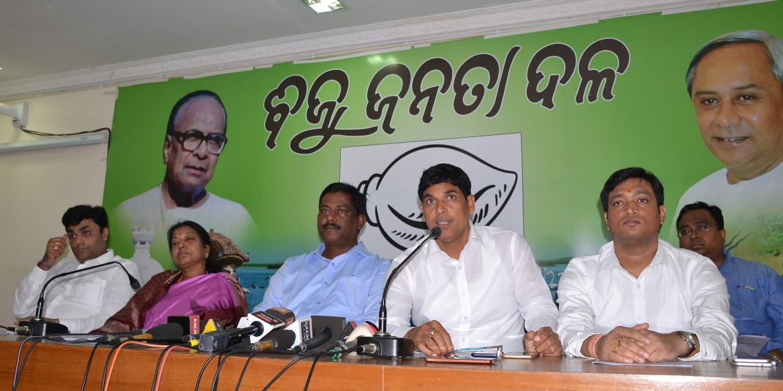 BJD leaders including Arun Sahoo, Sanjay Das Burma and Pramila Mallick address media in Bhubaneswar, Tuesday