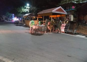 Night cleaning near Lingaraj temple in Bhubaneswar