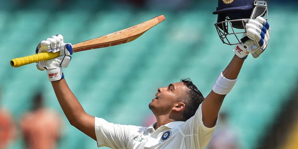 Prithvi Shaw celebrates his century against West Indies, in Rajkot, Thursday