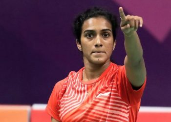 PV Sindhu gestures after beating Sayaka Sato in Paris, Thursday