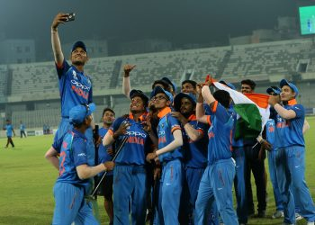 India colts take a groufie after winning the Asia Cup final in Mirpur, Sunday