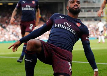 Alexandre Lacazette celebrates after scoring against Fulham, Sunday