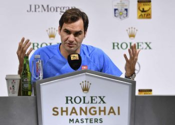 Roger Federer addresses the media during a press conference in Shanghai, Tuesday