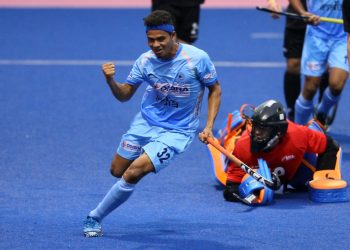 Odisha's Shilanand Lakra is all pumped up after scoring India's second goal against New Zealand, Sunday