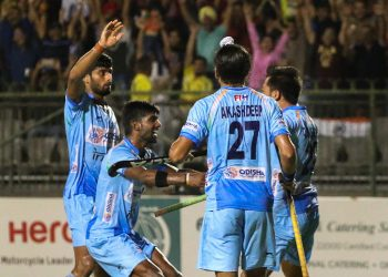 India players celebrate after defeating Japan in the semifinal of Asian Champions Trophy hockey tournament in Muscat, Oman, Saturday