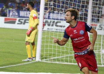 Mario Arques celebrates after scoring the opener for Jamshedpur FC against Mumbai City FC, Tuesday