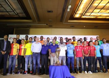 Players representing all the I-League clubs pose for a photo during the 2018-19 season launch ceremony at New Delhi, Tuesday