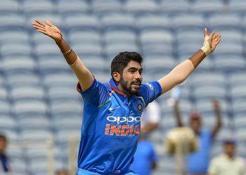 Jasprit Bumrah appeals for the dismissal of a West Indies batsman in Pune, Saturday