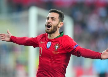 Portugal's Bernardo Silva celebrates after scoring the winner against Poland, Thursday