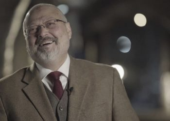 This image is made from a March 2018 video provided by Metafora Production, Jamal Khashoggi