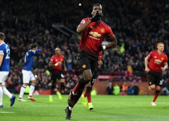 Manchester United's Paul Pogba celebrates after scoring against Everton at Old Trafford, Sunday