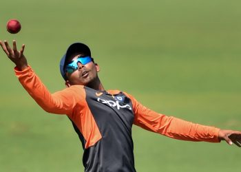 Prithvi Shaw tries to hold on to a catch during India's practice session at Rajkot, Wednesday