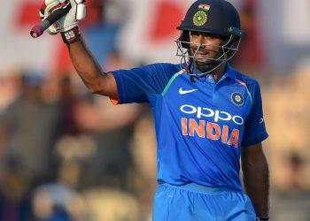 Indian batsman Ambati Rayudu celebrates his century against West Indies at Brabourne Stadium, in Mumbai, Monday