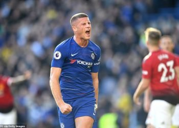 Ross Barkley celebrates after equalising against Manchester United