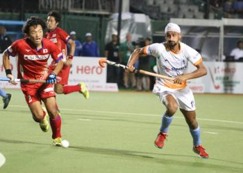 Mandeep Singh who scored a hat-trick in action against Japan Sunday night
