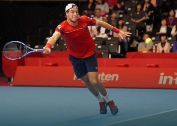 Jan-Lennard Struff in action during his match against Marin Cilic (not in picture) at Japan Open, Tuesday