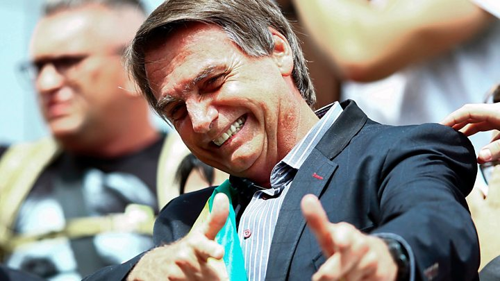Brazil's right-wing candidate poised to win presidential election slated to take place Sunday, 28th October.