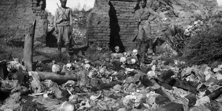 A pile of skulls from the Armenian village of Sheyxalan