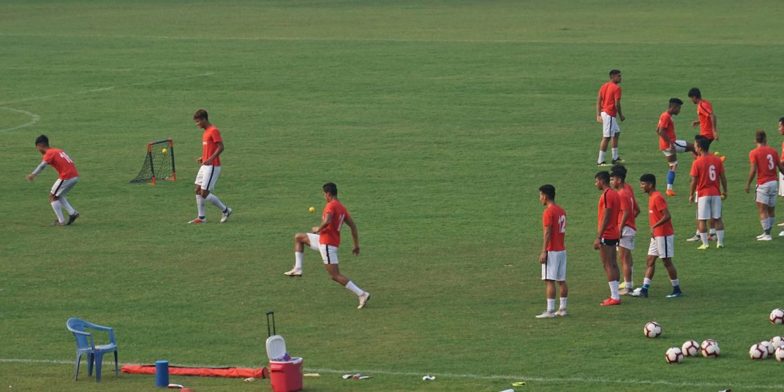 Indian Arrows players are going through some training drills at the Barabati Stadium in Cuttack, Friday