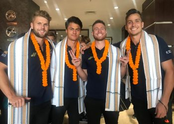 Australia players are all smiles after their arrival in Bhubaneswar, Saturday