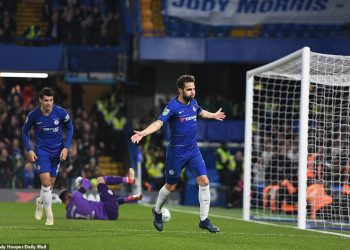 Cesc Fabregas celebrates after scoring the winning goal against Derby County in London, Wednesday