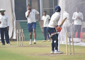 Odisha's Basant Mohanty bowls at the nets at KIIT Stadium, Sunday