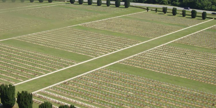 Douaumont French military cemetery seen from Douaumont ossuary, which contains remains of French and German soldiers who died during the Battle of Verdu