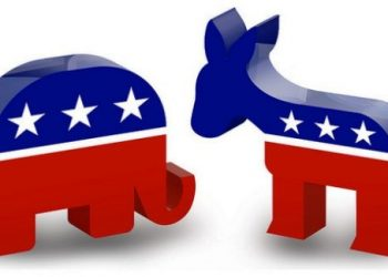 Symbols of the two major political parties in the U.S.: the Republican Party symbolized by the elephant and the Democratic Party by the donkey.