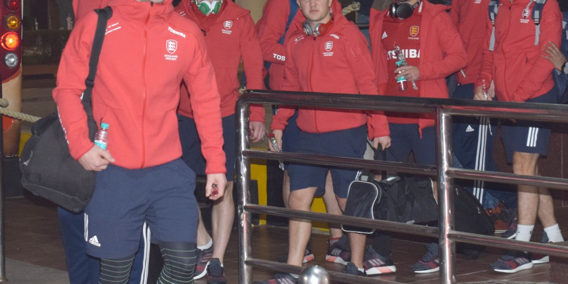 Mark Gleghorne (in front) along with his England teammates come out of BPIA, Friday midnight