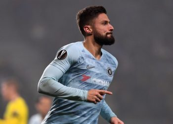 Olivier Giroud wheels away in celebration after scoring for Chelsea against BATE Borisov, Thursday, to end his 11-game goal drought this season