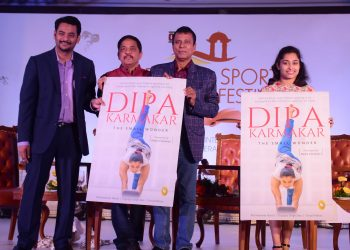 (From L) Senior journalists Digvijay Singh Deo, Vimal Mohar, coach Bishweshwar Nandi and gymnast Dipa Karmakar unveil the cover of the book 'Dipa Karmakar: The Small Wonder' at Ekamra Sports Literary Festival in Bhubaneswar, Saturday