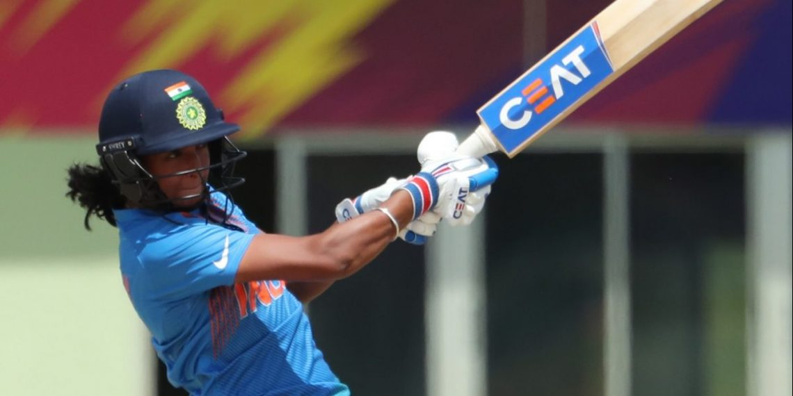 India skipper Harmanpreet Kaur plays a shot en route to her century against New Zealand, Friday