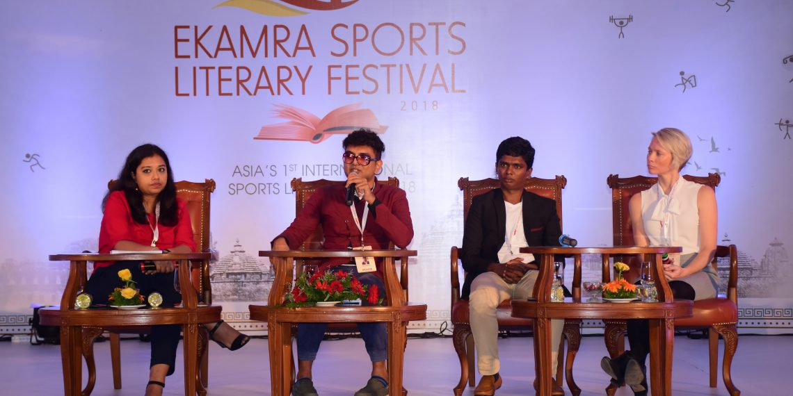 (From L toR): Moderator Suprita Das, Gopi Shankar, Santhi Soundarajan and Madeline Pape take part in a group discussion at ESLF in Bhubaneswar, Friday