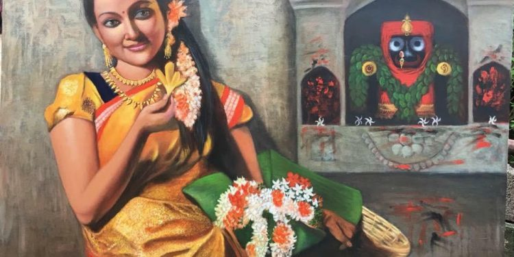 Sai Kalyani's painting of a woman offering flowers to Lord Jagannath at the fourth edition of India Art Festival