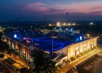 An ariel view of the floodlit Kalinga Stadium in Bhubaneswar