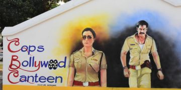 Life size paintings of Bollywood's iconic cops adorn this open air canteen