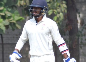 Subhranshu Senapati walks into bat against Uttar Pradesh at KIIT Stadium in Bhubaneswar, Monday