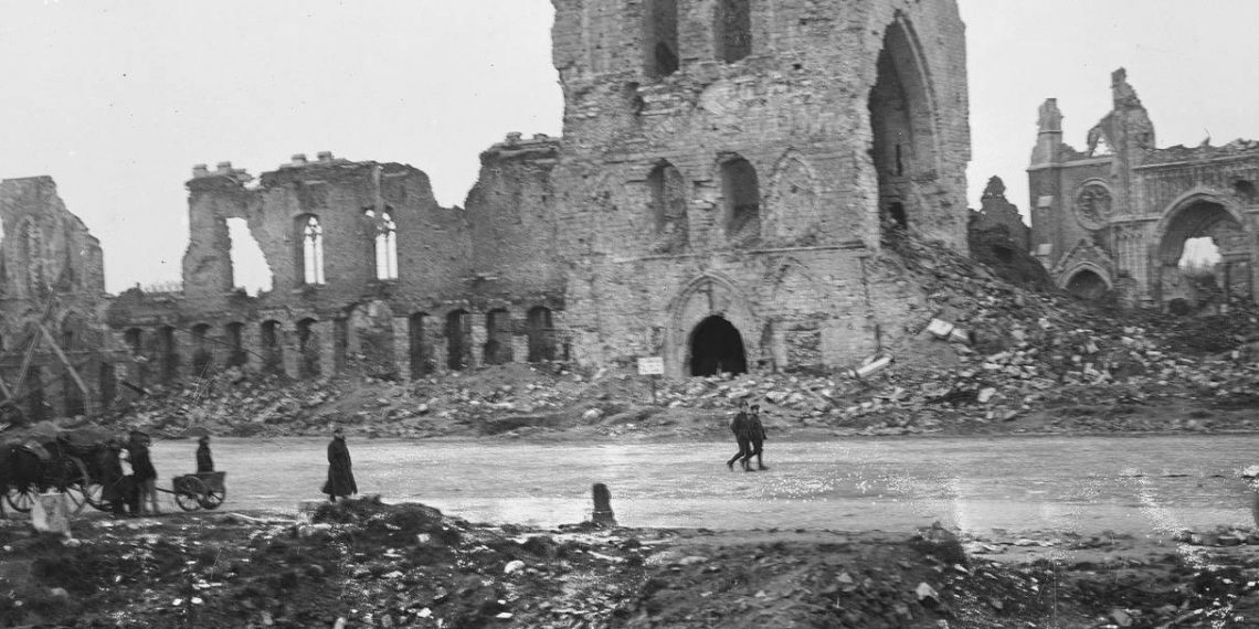 The ruins of the cloth hall and cathedral in Ypres during WWI