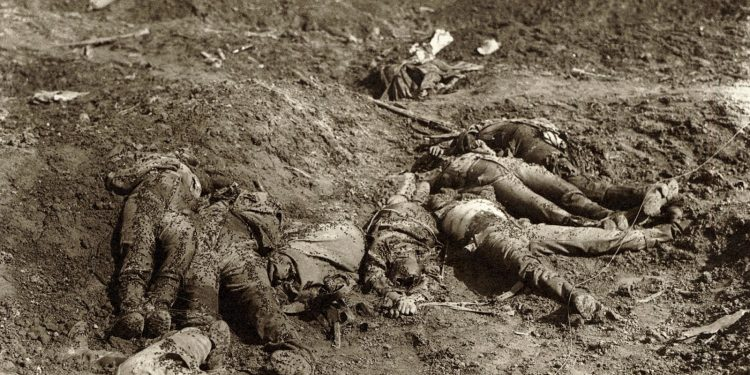 War casualties on the battlefield after a charge by the Canadians, ca. 1918