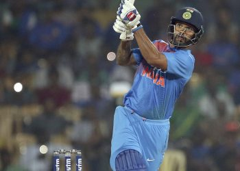 Shikhar Dhawan hits a six against West Indies in Chennai