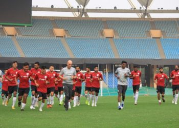 Indian players warm-up during their training session ahead of their match against Jordan, Saturday