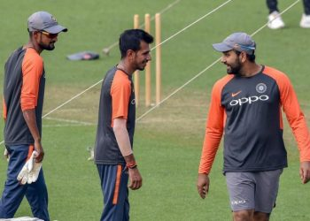 Rohit Sharma (R), Yuzvendra Chahal (C) and Shahbaz Nadeem share a thought during India's training session at Chennai, Saturday