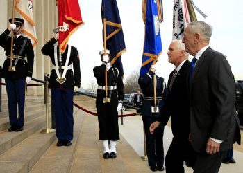 Defense Secretary Jim Mattis welcomes Vice President Mike Pence to the Pentagon, Wednesday, Dec. 19, 2018. (AP)