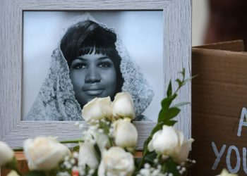 A photograph of American soul legend Aretha Franklin displayed after her death in August 2018, aged 76 (AFP)