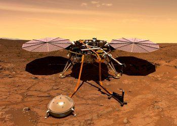 An artist's interpretation of the InSight lander operating on the Martian surface. (NASA)