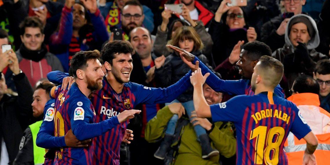 (From L): Lionel Messi, Carles Alena, Ousmane Dembele and Jordi Alba celebrate Barcelona's second goal against Vilarreal at Camp Nou, Sunday