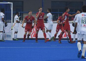 Belgium players (in red) celebrate after scoring a goal against Pakistan at Kalinga Stadium in Bhubaneswar, Tuesday
